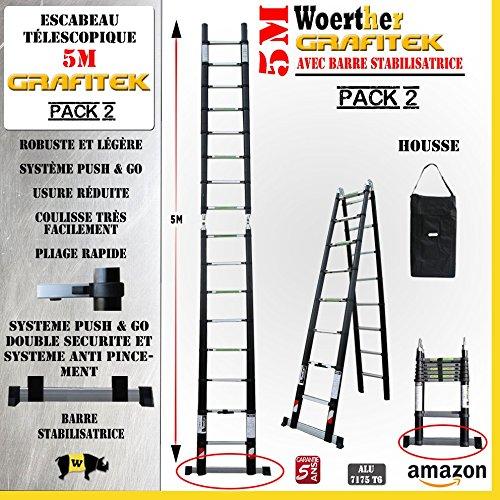 ESCABEAU-ÉCHELLE TÉLESCOPIQUE WOERTHER Triple Fonctions / 5M00-2M50 /avec Housse (Pack 2) / MODÈLE GRAFITEK, en Graphite ET...