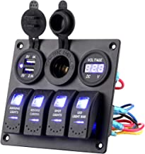 Jiaying Rocker Switch Aluminum Panel 4 Gang Toggle Switches with DC 5V 3.1A Dual USB Charger Digital Voltmeter Display DC ...