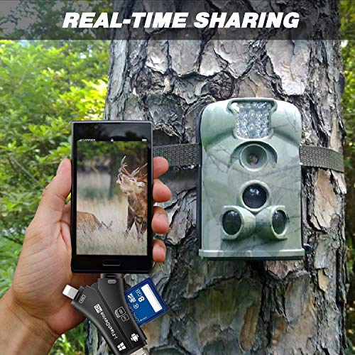 MOSPRO Trail Camera Viewer for iPhone iPad Mac & Android, SD & Micro SD Memory Card Reader to View Photos and Videos from Any Wildlife Scouting Game Cam on Smartphone for Deer Hunter Black