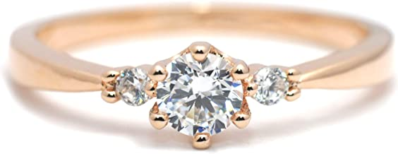 Gieschen Jewelers 'Radiant' 14K Gold-Plated (Rose/White/Yellow) Three-Stone CZ Crystal Ring
