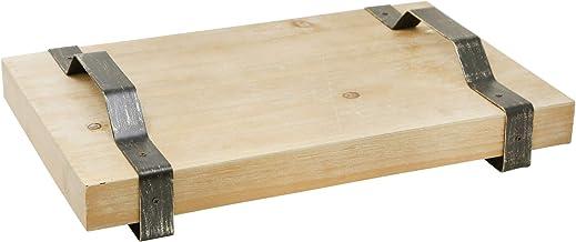 صينية خشبية 14345 من Sagebrook Home 45.72 سم مع مقابض معدنية، بني، 45.72 سم طول × 29.25 سم عرض × 9.44 سم ارتفاع