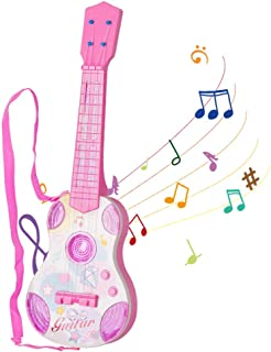 M SANMERSEN Kids Toy Guitar, Pink Guitar for Kids 4 Strings Children Musical Instruments, Mini Ukulele Classical Educational Learning Guitar Toy for Toddler Beginner(Pink)