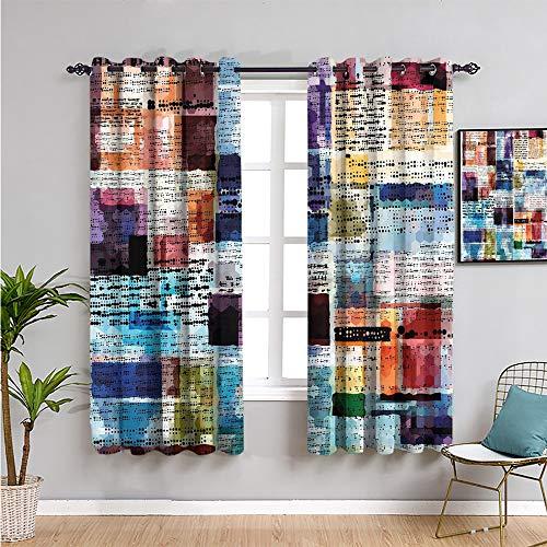 viejo periódico decoración de cortinas opacas ventana cortinas 114.32 cm de longitud abstracta estilo acuarela con textos punteados grunge antiguo uso repetible multicolor ancho 63 x largo 45 pulgadas