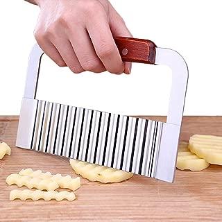 BingGoGo Stainless Steel Wide Crinkle Cutter Cutting Tool,Salad Chopping Knife ,Potato Vegetable Slicer, 7.3