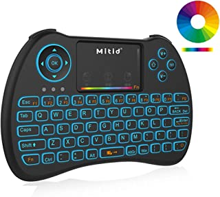 Mitid Wireless Mini Keyboard RGB Backlit 2.4G Remote with Mouse Touchpad Combos for Computer, Google Android TV Box, IPTV, HTPC, KODI, Raspberry Pi