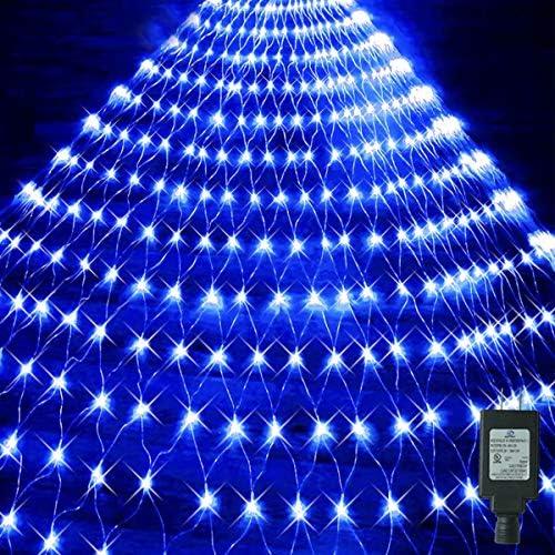 Oycbuzo Blue Net Mesh Lights Plug in 204 LED 9 8ft x 6 6ft Christmas Fairy String Lights Tree product image