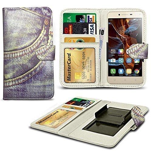 N4U Online® Verschiedene Muster Clip Serie Kunstleder Brieftasche Hülle für Gionee Ctrl V5 - Jeans