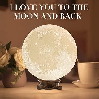 Mydethun Moon Lamp Moon Light Night Light Kids Gift Women USB Charging Touch Control Brightness 3D Printed Warm Cool White Lunar Lamp…