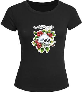 489e2bbcce Fashion Ed Hardy Tops T shirts Moda Ed Hardy Impreso Camiseta de Mujer para  Mujer Camiseta