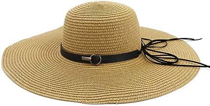 2019 Women Womens Cap Sea Beach Hat Sun Hat for Women Hook Straw Hat Weaving Handmade Crochet Women Summer Hollow Folding Vacation Elegant Mesh Sunscreen (Color : Coffee, Size : 56-58CM)