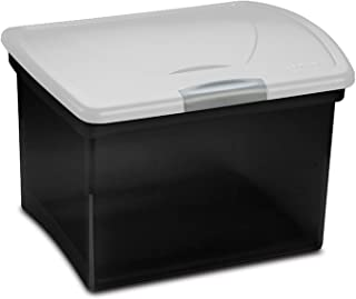 Sterilite 18789004 File Box, Clear Lid with a Black Base and a Titanium Latch, 4-Pack