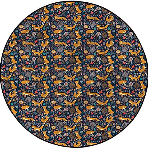 Floral Traditional Soft Round Rug Kids Area Rug Fun Rug Fairy Forest Foxes Tulips Diameter 43.3 in(110cm)