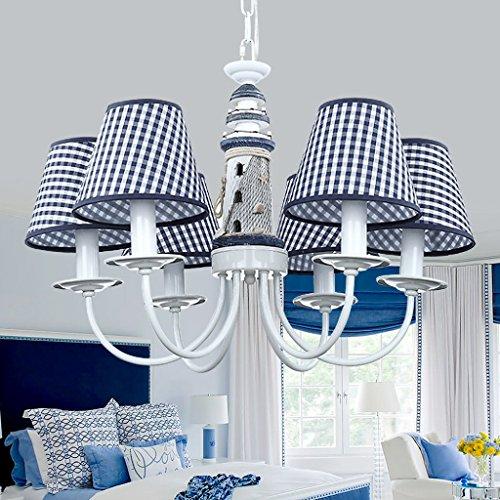 Faro mediterráneo azul de hierro forjado para chico dormitorio infantil europeo dormitorio luz luz decorativa A+
