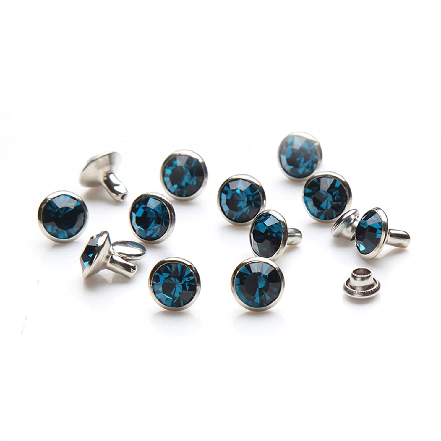 100 Sets Cz Colorful Crystal Rapid Rivets Silver Color Spots Studs Double Cap for DIY Leather-Craft (Indicolite Blue, 6MM)