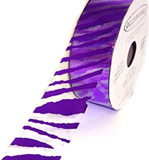 ACI PARTY AND SPIRIT ACCESSORIES Clear Ribbon with Purple Zebra Print Pattern, 27 yd. Roll