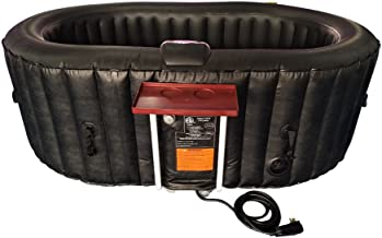 ALEKO HTIO2BKBK Oval Inflatable Hot Tub Spa with Drink Tray and Cover, 2 Person Portable Hot Tub - 145 Gallon Black