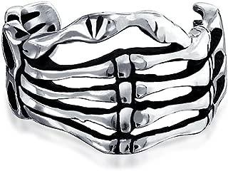 Biker Punk Rocker Skeleton Hand Cartilage Ear Cuffs Clip Wrap Helix 1 Piece Non Pierced Ear Oxidized 925 Sterling Silver