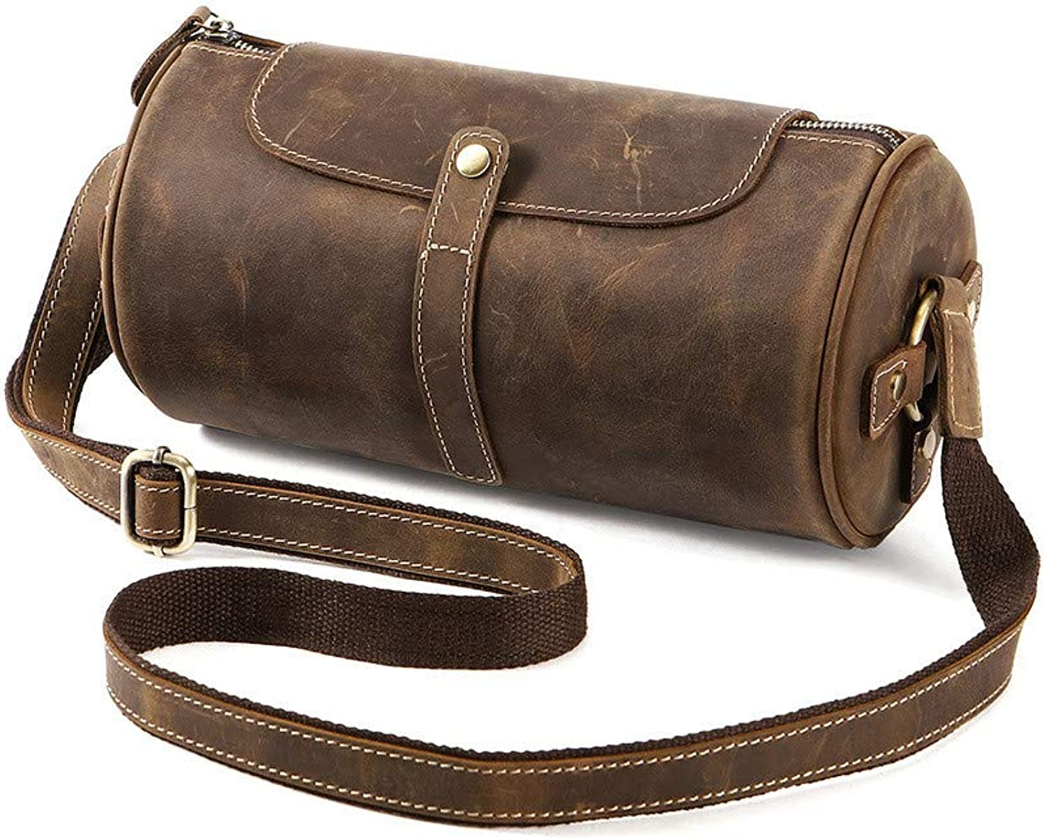 Sturdy New Men's Vintage Fashion Casual Leather Business Tote Crossbody Handbag Large Capacity (color   Brown)