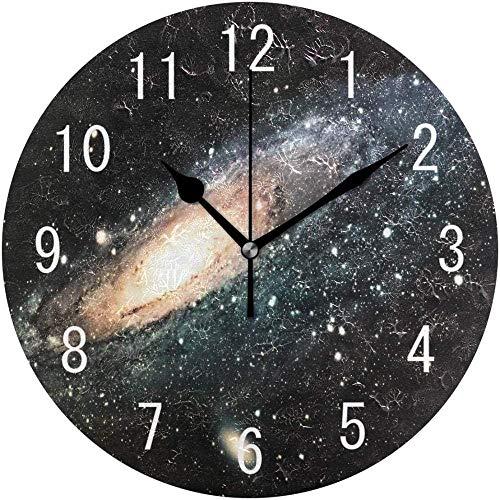 Reloj de pared Mudo Movimiento de cuarzo Espacio Nebulosa Galaxy Sistema solar Reloj de pared Colorido Reloj de pared redondo Silencioso Arte clásico Dormitorio Sala de estar Decoración del hogar Coci