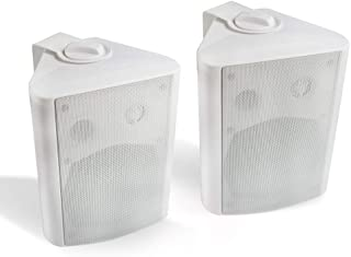Herdio 5.25 Inches 200 Watts Indoor Outdoor Patio Deck Speakers All Weather Wall Mount System A Pair (White)