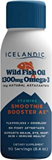 Icelandic Wild Fish Oil Liquid, Wellness Smoothie Booster 1300mg Omega 3, 1mg Astaxanthin, Flavorless, Keto Friendly, Glut...