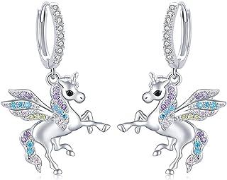 Sponsored Ad - S925 Sterling Silver Unicorn Horse Clover Fairy Angel Huggie Hoop Drop Dangle Earrings Mushroom Lotus Hoop ...