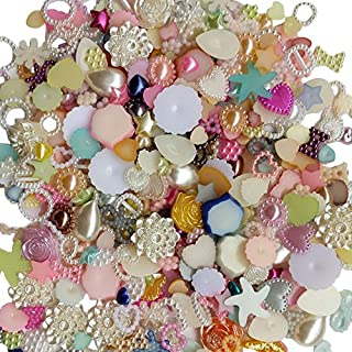 Chenkou Craft Random 100g/lot (Around 400pcs) 4-20mm Half Round Pearls Seastar Bow Rose Rhinestone Flat Back Pearls Bead Loose Beads Gem