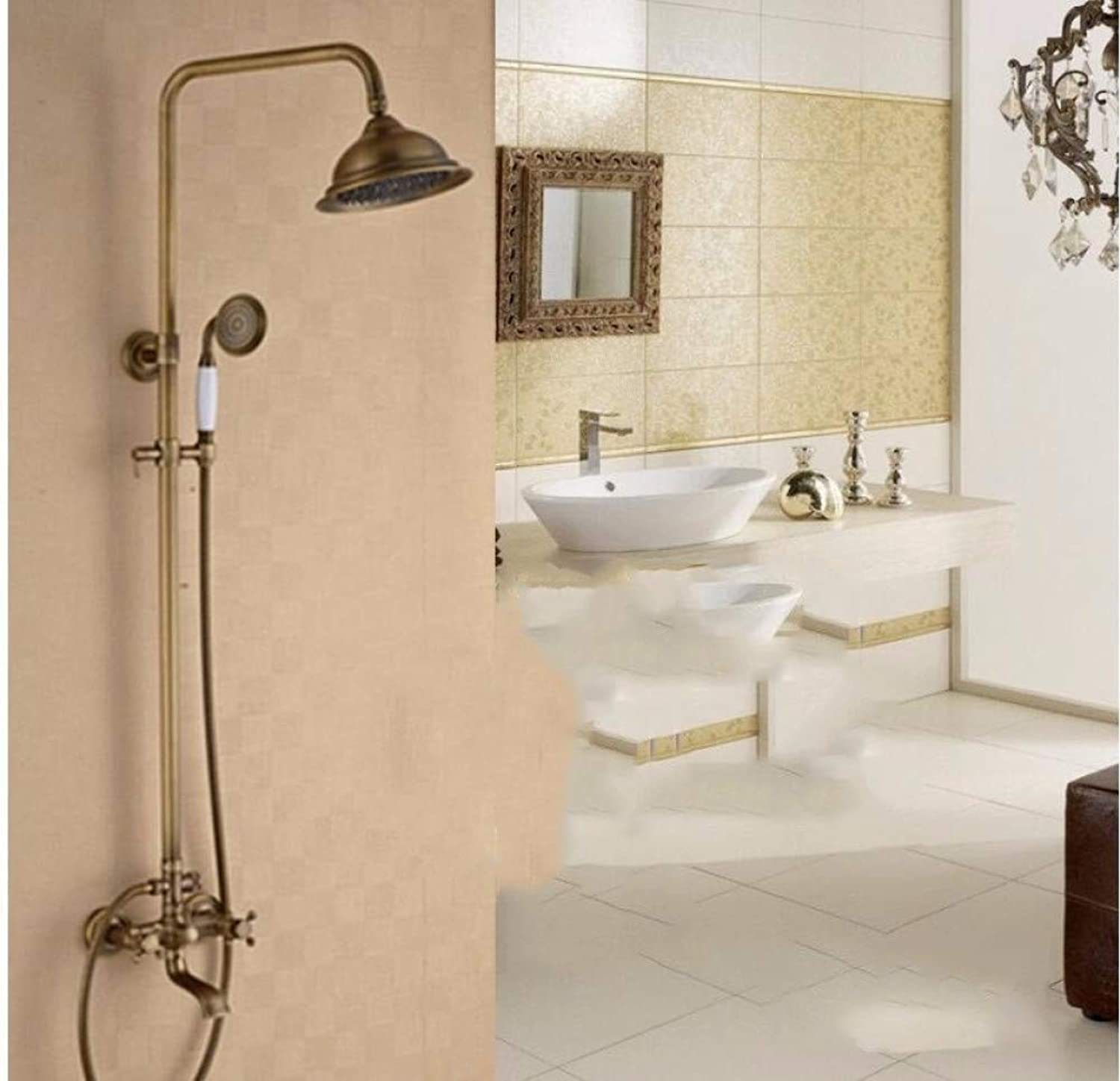 GZF Antique Brass Tub Shower Faucet set with Shower Head Hand Shower