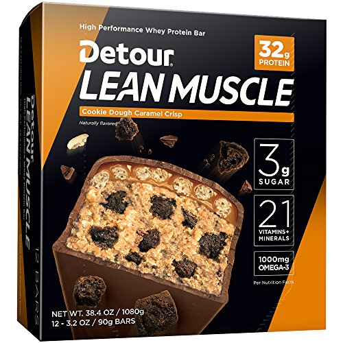 Detour Lean Muscle Whey Protein Bar, Cookie Dough Caramel Crisp, 3.2 Ounce (Pack of 12)