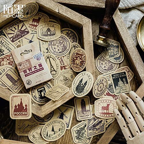 46 PCS/LOT Vintage Travel Boxed Stickers DIY Scrapbooking Kraft Paper Diary Planner Wedding Album Sealing Decoration @TZ-18