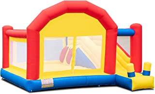 Costzon Inflatable Bounce House, Mighty Slide Castle Bouncer w/Large Jumping Area, Mesh Walls, Long Slide, Including Oxford Carry Bag, Repairing Kit, Stakes, 13.4 x 11.9 x 9' (Without Blower)
