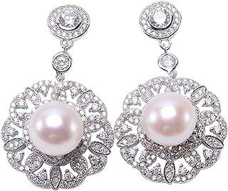JYX Pearl Sterling Silver Drop Earrings 10mm White Flat Freshwater Cultured Pearl Dangle Earrings