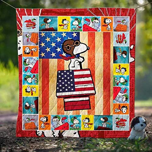 Snoopy Us Flag Quilt Birthday Xmas Gift for Dad Mom Husband Wife Kids Son Daughter Quilt King Queen Twin Throw Size All Season Comfortable
