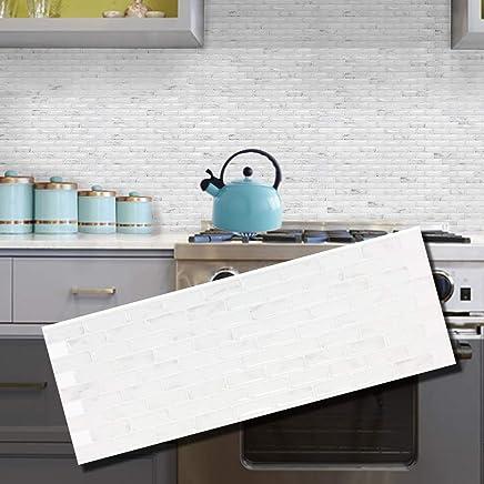 "BEAUS 瓷砖装饰瓷砖贴纸即剥即贴后挡火阻燃瓷砖板(Stella) Stella 5.28"" x 14.8"""