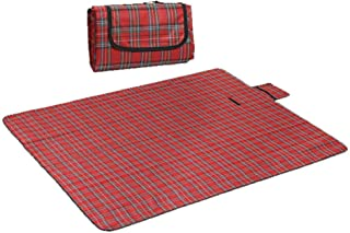Joyevic Padded Picnic Blanket Large Outdoor Waterproof Picnic Blanket Foldable Handy Tote Bag Compact Plaid Washable Sand ...