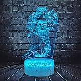 Sirena 3D ilusión lámpara para niña dibujos animados cómic acción peces 7 colores USB cambio de cable iluminación vacaciones mejor...