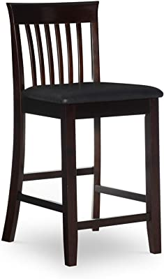 Benjara Mission Back Wooden Counter Stool with Leatherette Seat, Black, Brown