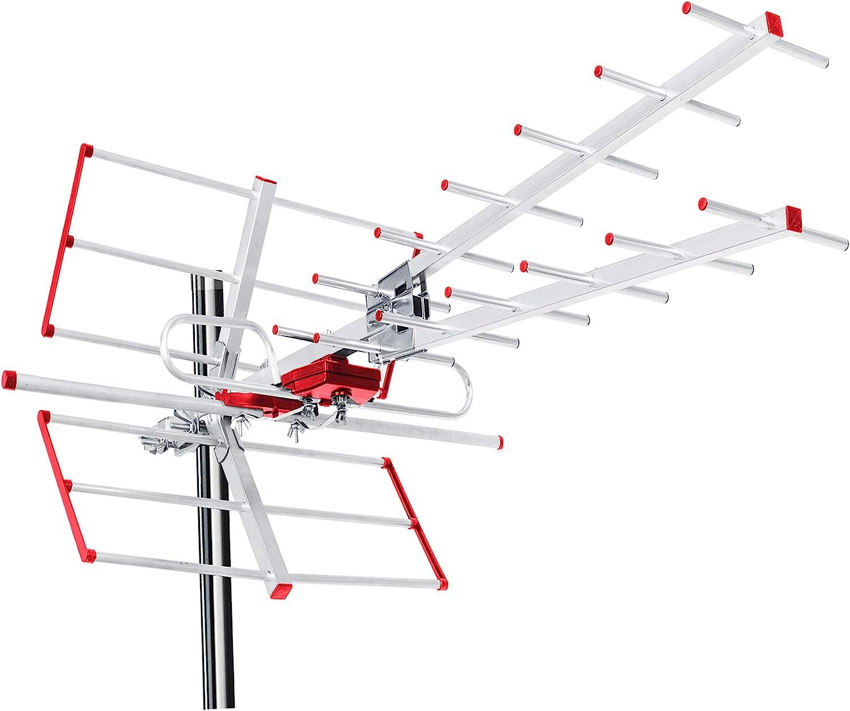 Maclean MCTV-855A - Antena Exterior para televisión (DVB-T DVB-T2 Full HD máx. 100dBμV UHF/VHF LTE Filter (Activo)