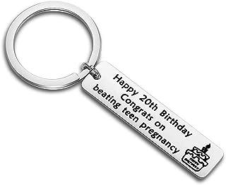 BEKECH 20th Birthday Gifts Birthday Keychain Happy 20th Birthday Congrats On Beating Teen Pregnancy Keychain 20th Keychain Birthday Jewelry