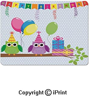 Oversized Mouse Pad,Cartoon Owls at a Party with Flags Boxes Polka Dot Backdrop Gaming Keyboard Pad,9.8x11.8 inch Non-Slip Office Computer Desk Mat,Baby Blue