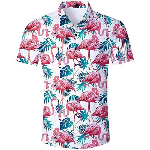Herren Hawaiianisches Hemd Trendy 3D Drucked Flamingo Kurzarm Blumenhemd,Weiß,3XL