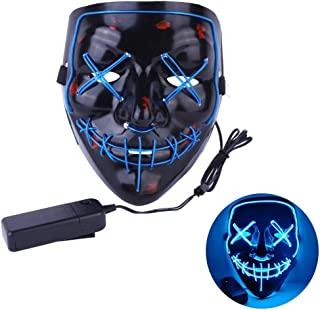 Led Halloween Mask, Led Purge Mask, Scary Mask for Halloween Festival Cosplay Party Led Mask for Adult Men Women and Kids