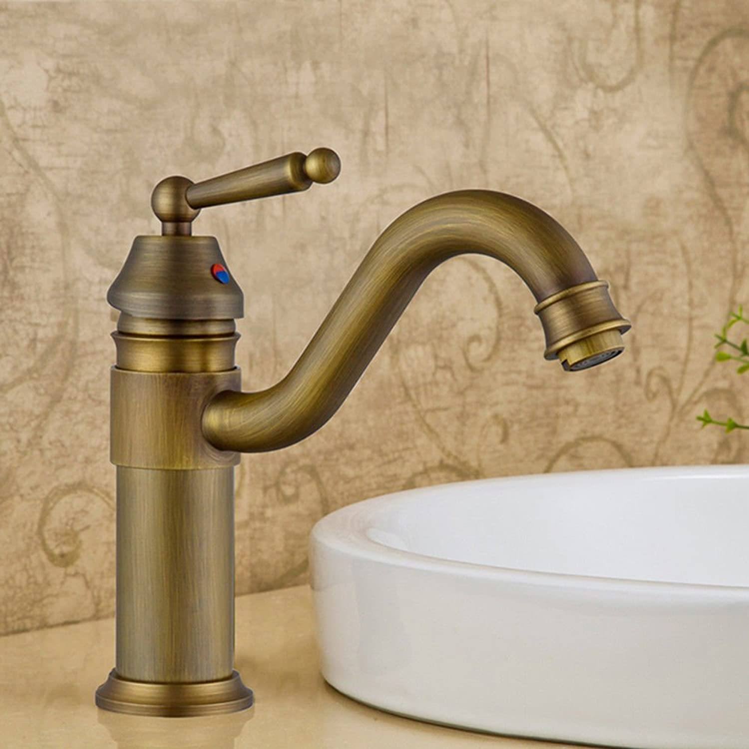 Gyps Faucet Washbasin Single-Lever Mixer Tap Bathroom Tap Kitchen Faucet Wash Basin Fittings Antique Copper Cold Taps Plus High Single Hole Seat Bench Antique Faucet Antique Faucet