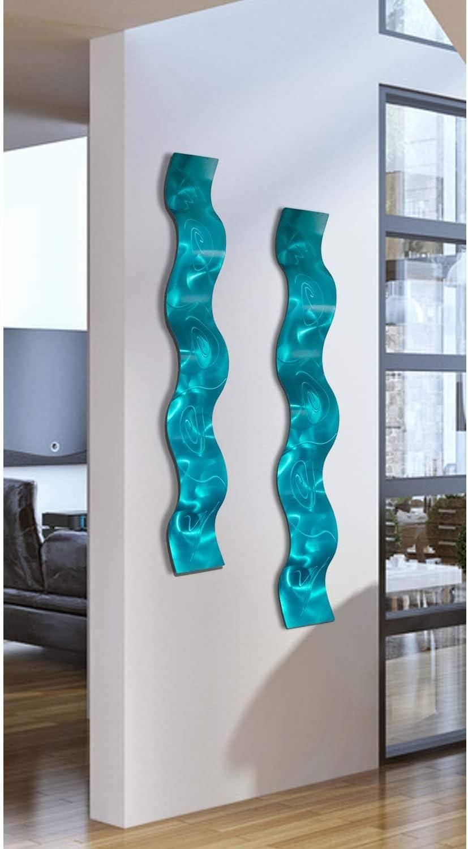 SET OF TWO Aqua Wave 3D Abstract Metal Wall Art Sculpture Wave - Modern Home Décor by Jon Allen - 46.5