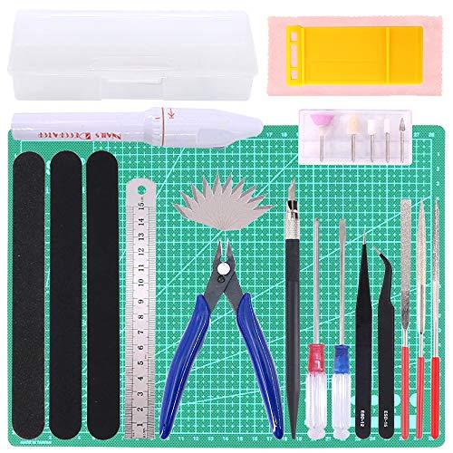 Keadic 29Pcs Gundam Modeler Basic Tools Craft Set with a Plastic Case and Bag for Hobby Model Assemble Building