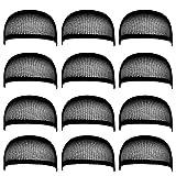Blisstime Pack of 12 Wig Cap Open End Mesh Net Liner Weaving Cap (black)