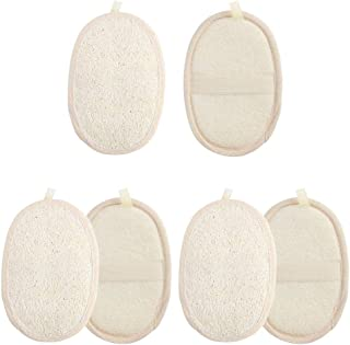 6 Packs Exfoliating Loofah Pads, DaKuan 100% Natural Luffa Sponge and Terry Cloth Scrubber Brush for Bath SPA and Shower