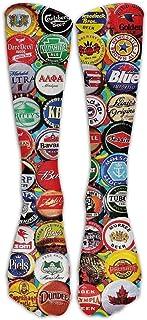 N / A, Tapas de botellas de cerveza Crew Sock Crazy Socks Tube Calcetines altos Novedad Divertida Luz delgada para adolescentes Niños Niñas 50 cm / 19.7 pulgadas