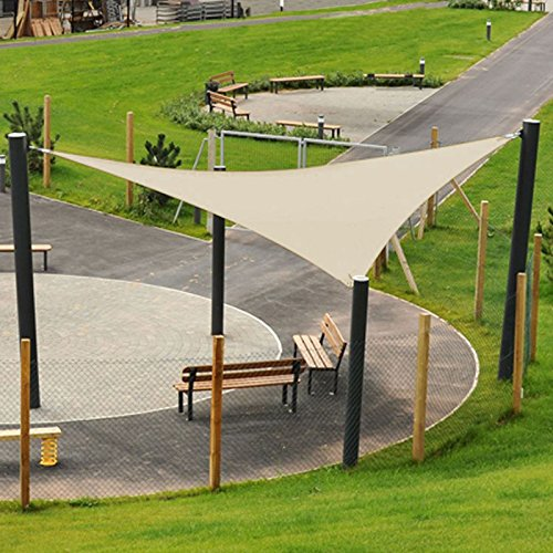 Garden Sail Shade Sunscreen Patio Canopy 3.6m Triangle Awning 90% UV Block Outdoor D-Ring Secure Rope Mildew Resistant Plastic Weave - Beige