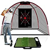 CHAMPKEY Upgraded TEPRO 10' x 7' Golf Hitting Net | 5 Ply-Knotless Netting with Impact Target Golf Practice Net Ideal for Indoor and Outdoor Training